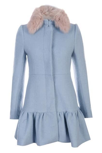 Flouncing Faux Fur Pink Woolen Coat