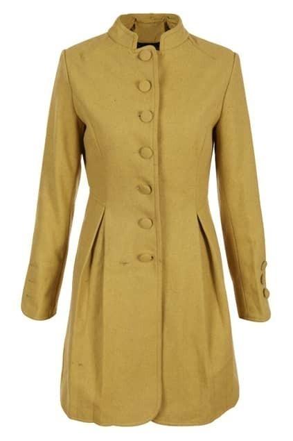 Buttoned Ginger Woolen Coat