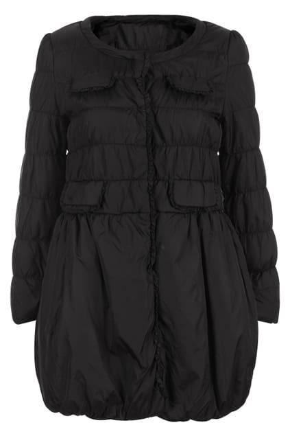 Retro Flouncing Black Coat