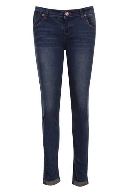 Turn-up Cuff Faded Denim Blue Jeans