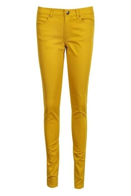 Belted Zippered Yellow Slim Pants