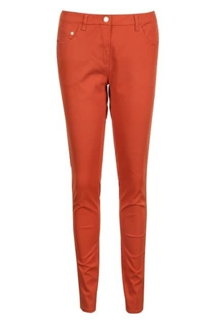 Belted Zippered Orange Slim Pants