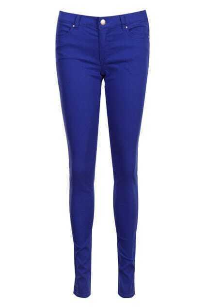 Belted Zippered Royalblue Slim Pants