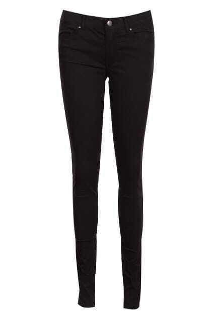 Belted Zippered Black Slim Pants