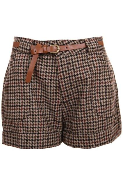 Houndstooth High Waist Shorts