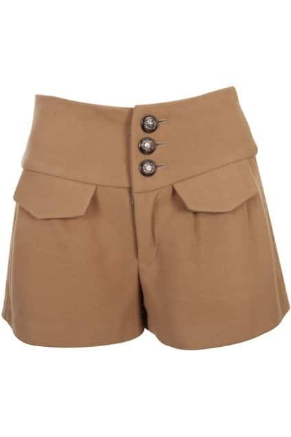 Cross Tie High Waist Camel shorts