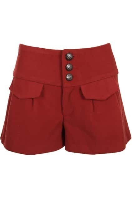 Cross Tie High Waist Red shorts