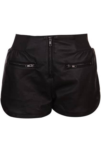 Retro Style Elastic Waist Black Shorts