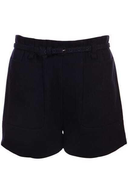Large Pockets Navy Blue Shorts