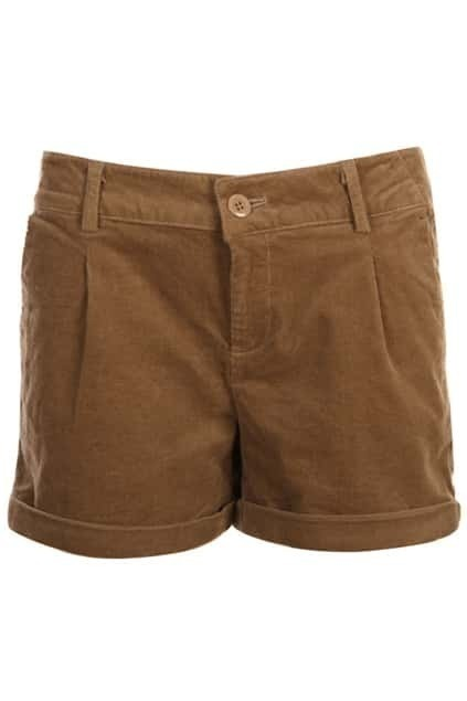 Turn-up Middle Waist Khaki Shorts