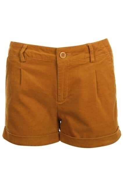 Turn-up Middle Waist Dark Yellow Shorts
