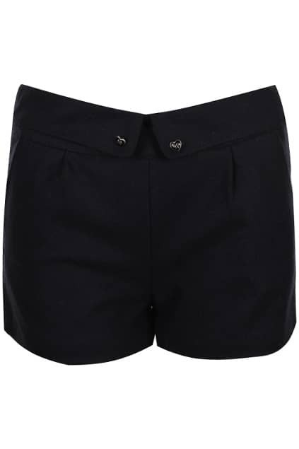 Retro Folding Heart Buttoned Black Shorts