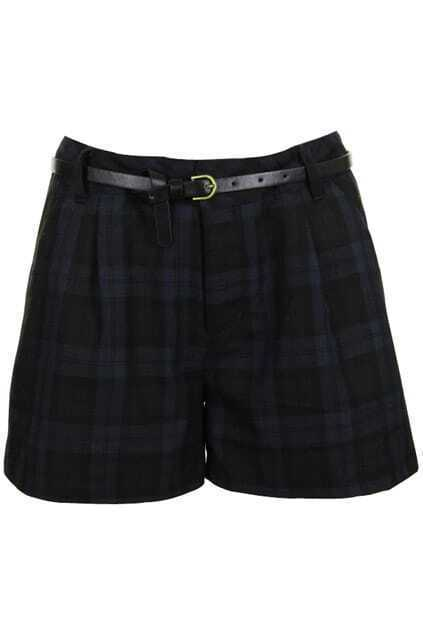 Retro Belted Dark-blue Plaid Shorts