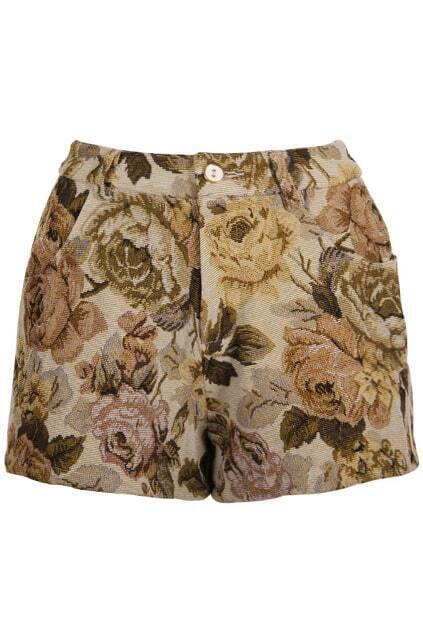 Brown Flower Retro Beige Short