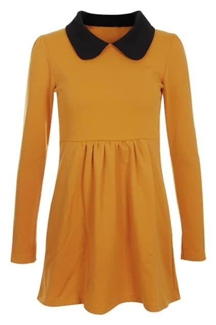 Contrast Collar Pleat Ginger Blouse