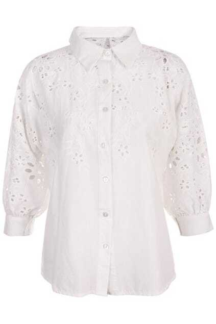 Hollow Floral Embroidery White Buttoned Blouse