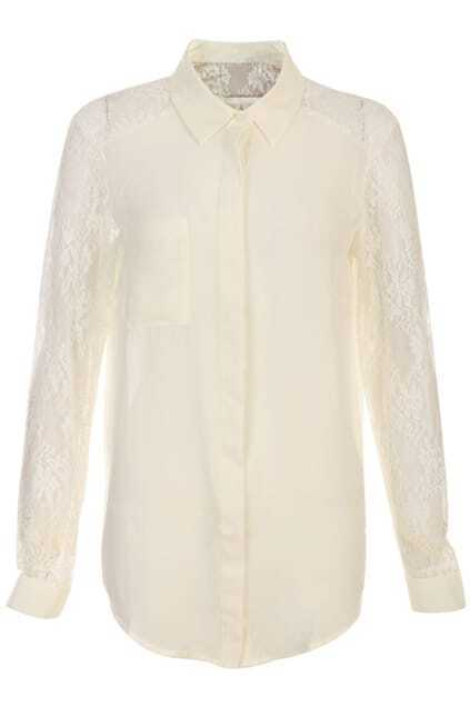 Spliced Lace Buttoned Beige Shirt