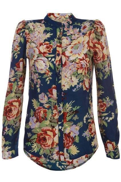 Band Collar Dark-blue Flowers Print Shirt
