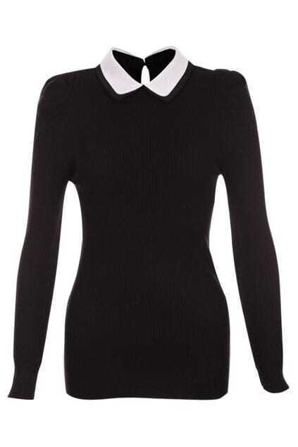 Double-layers Collar Black Blouse