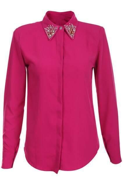 Dinamonded Lapel Rose Silk Shirt