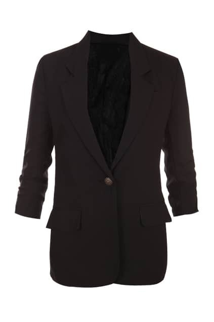 One Button Pleated Sleeve Black Blazer