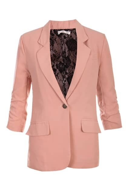 One Button Pleated Sleeve Nude-pink Blazer