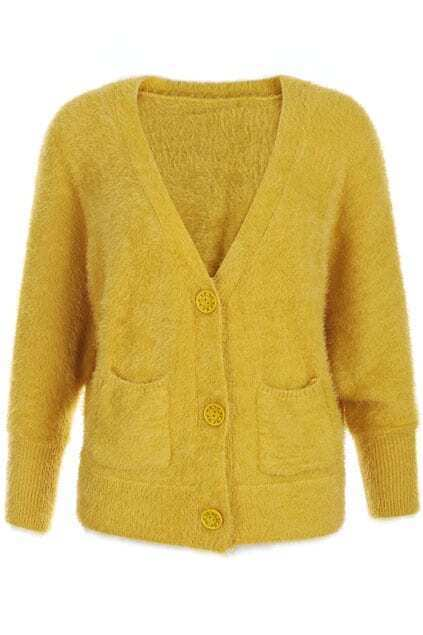Faux Fur Bat-wing Sleeve Ginger Cardigan