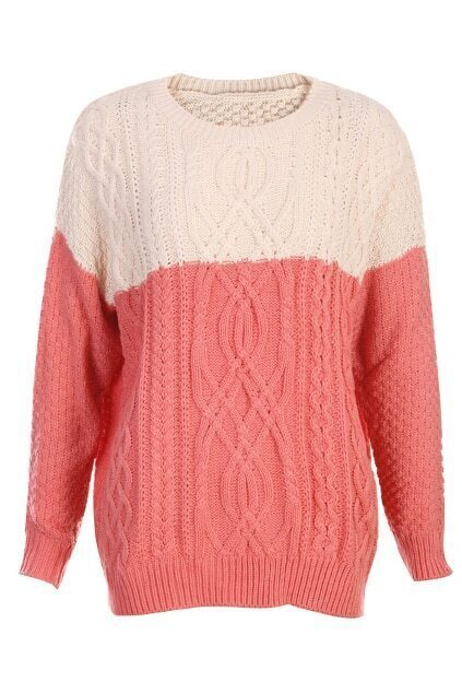 Contrast Color Watermelon Red Jumper