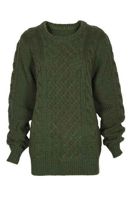 Rombus Plait Crochet Thick Green Jumper