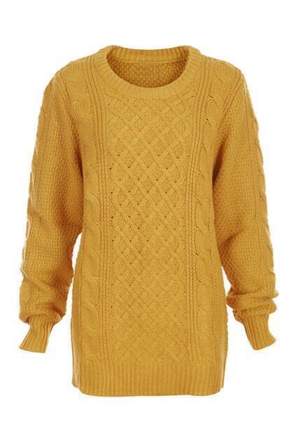 Rombus Plait Crochet Thick Ginger Jumper