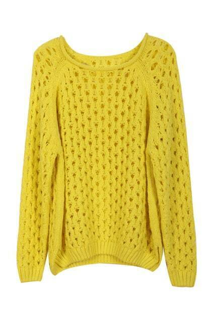 Hollow Water Ripple Knit Lemon Jumper