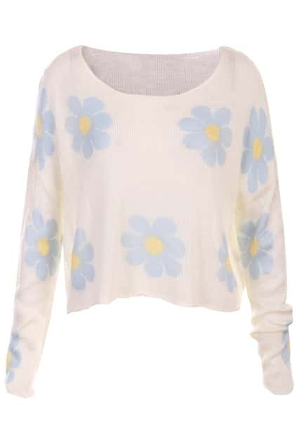 Knitted Daisy Print White Jumper
