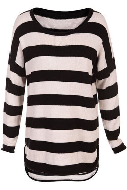 Knitted Stripe Print Black-white Jumper