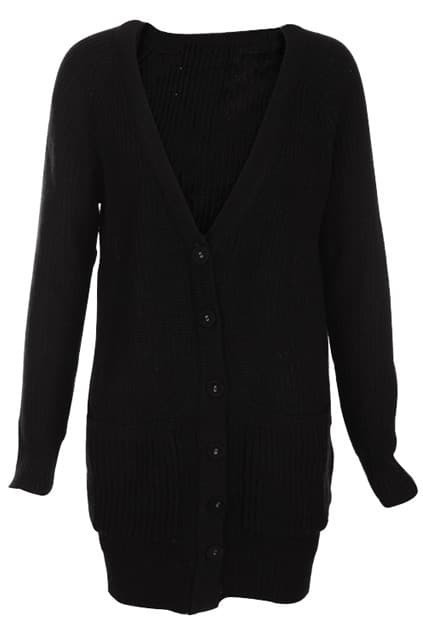 Vertical Slim Cable Knit Black Cardigan
