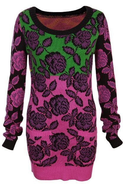 Knitted Rose Print Multi-color Jumper