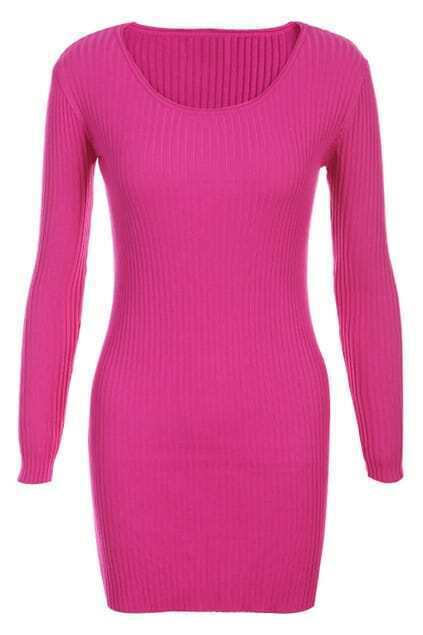 Rose Ribbed Elastic Longline Jumper