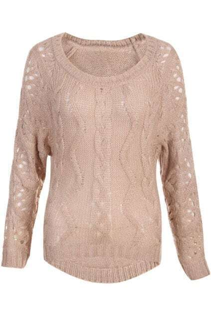 Vertical Cable Knit Hollow Nude-pink Jumper