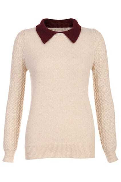 Contrast Collar Cream Jumper