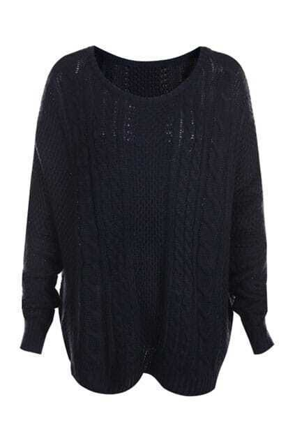 Cable Knit Dolman Sleeve Navy-blue Jumper