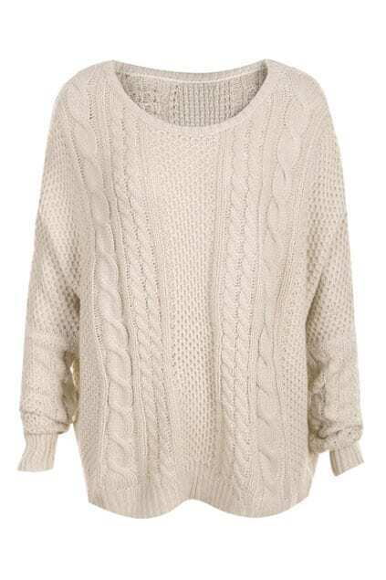 Cable Knit Dolman Sleeve Cream Jumper
