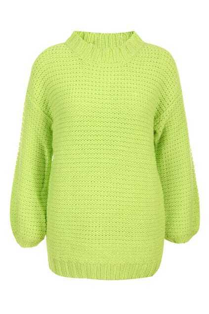 Lantern Sleeve Oversized Neon Green Jumper