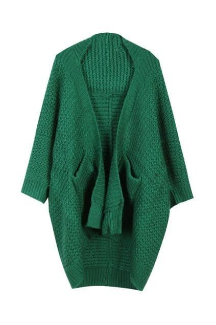 Green Main Asymmetric Hem Cardigan