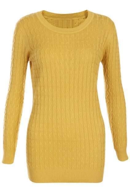 Retro Gentiana Weaving Slim Yellow Jumper