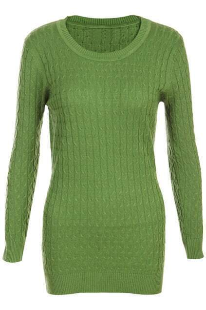 Retro Gentiana Weaving Slim Dark-green Jumper