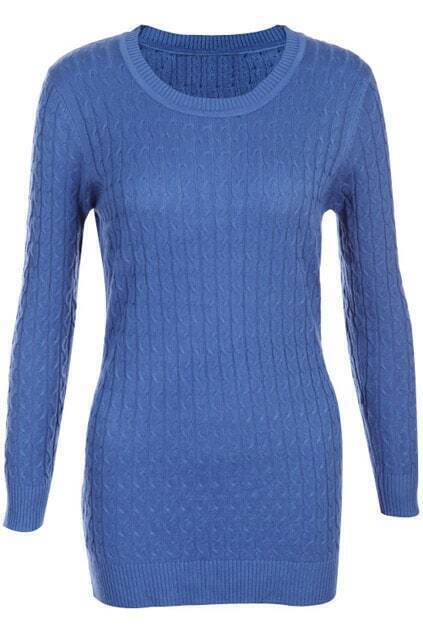 Retro Gentiana Weaving Slim Royalblue Jumper