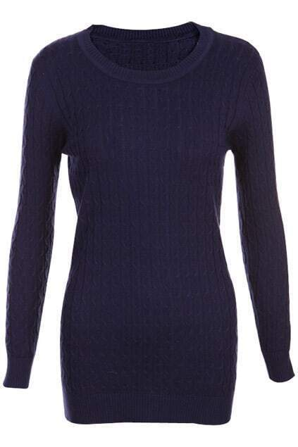 Retro Gentiana Weaving Slim Dark-blue Jumper