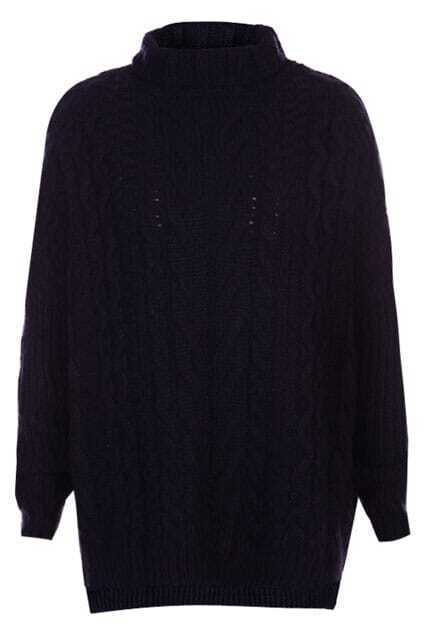 Asymmetric Furcal Hem Dark-blue Turtleneck Jumper
