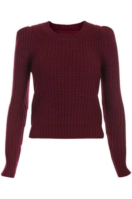 Retro Puff Sleeves Dark-red Short Jumper
