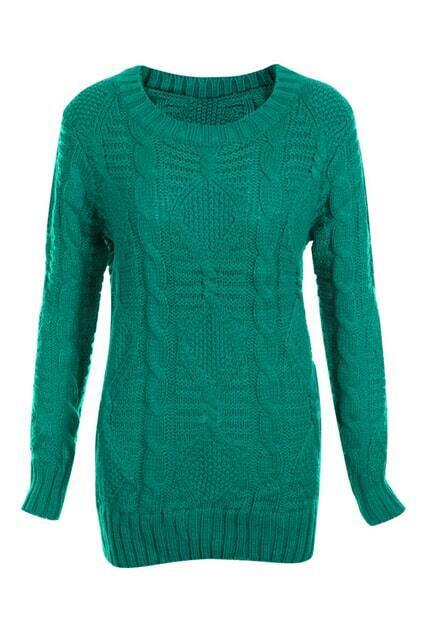 Scoop Neck Green Jumper