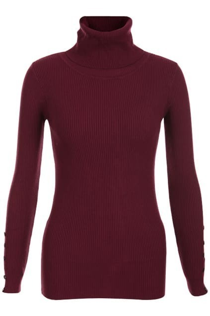 High-necked Wine Red Jumper